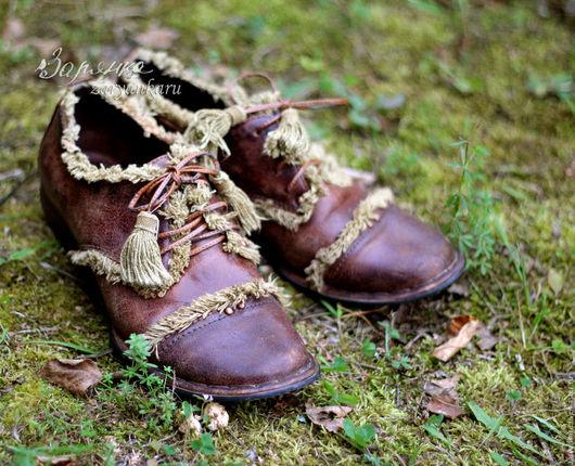 Обувь ручной работы. Ярмарка Мастеров - ручная работа. Купить Кожаные ботинки Лесная дорога. Handmade. Туфли женские, полуботинки