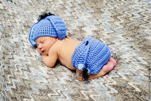 """Для новорожденных, ручной работы. Ярмарка Мастеров - ручная работа. Купить """"Ослик Иа"""" для фотосессии. Handmade. Синий, ослик, пуговицы"""