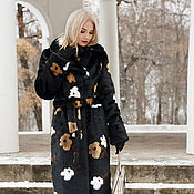 Одежда handmade. Livemaster - original item Coat a black mink tissavel print. Handmade.
