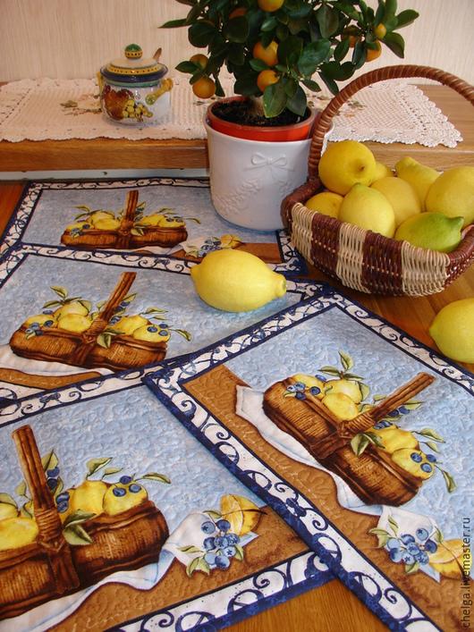 """Кухня ручной работы. Ярмарка Мастеров - ручная работа. Купить Салфетки столовые """"Лимоны из АМАЛЬФИ"""" (ланчматы).. Handmade. Синий, ланчмат"""
