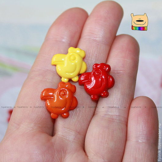 Шитье ручной работы. Ярмарка Мастеров - ручная работа. Купить Пуговица Попугай 3 цвета (ПП56 ПП57 ПП58) пластиковая детская. Handmade.