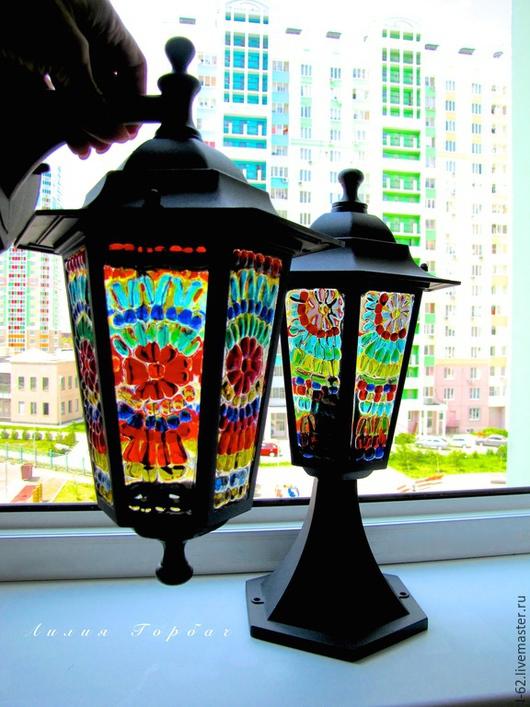 Освещение ручной работы. Ярмарка Мастеров - ручная работа. Купить фьюзинг, светильник-фонарик  Цветочный луг. Handmade. Лилия Горбач