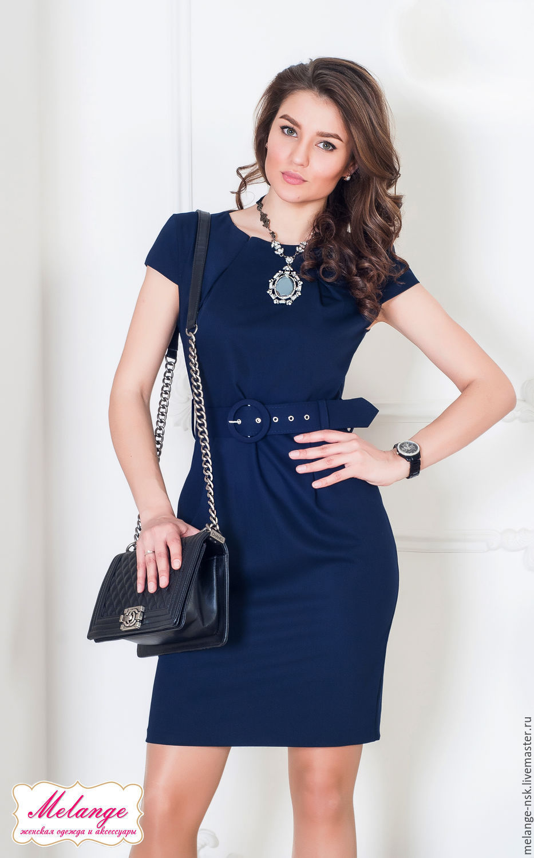 ff749223dd8 Платья ручной работы. Ярмарка Мастеров - ручная работа. Купить Синее  офисное платье с поясом ...