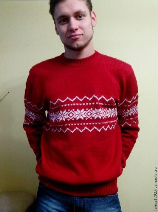 """Для мужчин, ручной работы. Ярмарка Мастеров - ручная работа. Купить Мужской свитер """"Норвежские звезды"""". Handmade. Ярко-красный"""