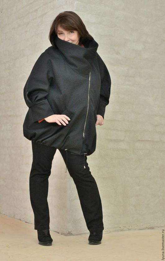 Большие размеры ручной работы. Ярмарка Мастеров - ручная работа. Купить Куртка из неопрена с ассиметричной застежкой. Handmade. Черный, бохо