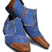 """Обувь ручной работы. Ярмарка Мастеров - ручная работа Мужские джинсовые туфли """"казаки"""". Handmade."""