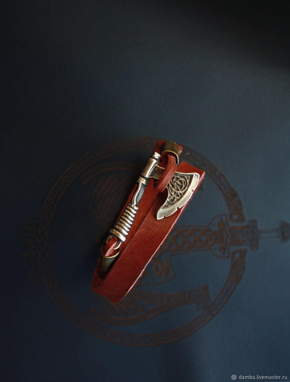 Браслет из натуральной кожи с бронзовым молотом тора, Браслет из бусин, Волгоград,  Фото №1