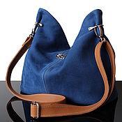 Сумки и аксессуары handmade. Livemaster - original item Crossbody bag: Granville Blue Jeans Suede Shoulder Bag. Handmade.