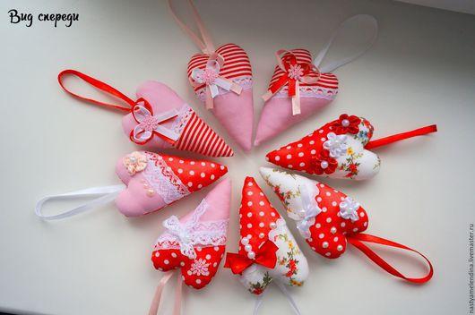 Новый год 2017 ручной работы. Ярмарка Мастеров - ручная работа. Купить Сердечки в стиле тильда. Handmade. Подарок на день валентина