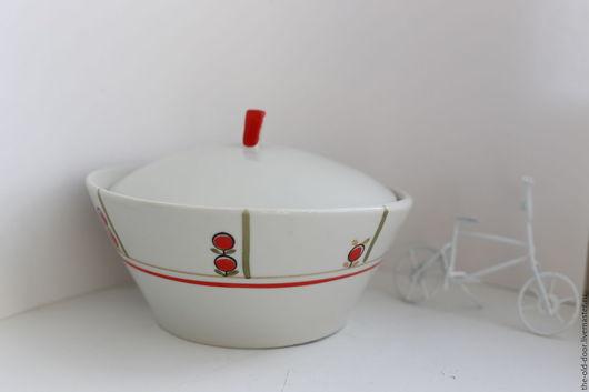 Винтажная посуда. Ярмарка Мастеров - ручная работа. Купить Сахарница или масленка ассиметричная, СССР. Handmade. Ярко-красный, масленка