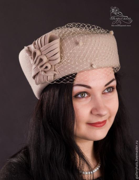 Шляпы ручной работы. Ярмарка Мастеров - ручная работа. Купить шляпа стюардесса с вуалью. Handmade. Бежевый, шляпы весенние
