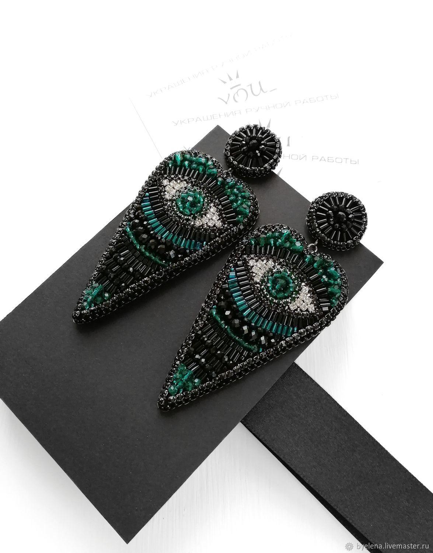 Long black stud earrings in heart shape. Third eye earrings, Stud earrings, Novosibirsk,  Фото №1