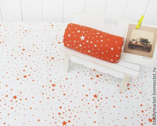 Шитье ручной работы. Ярмарка Мастеров - ручная работа. Купить Ткань хлопок  Звездочки ( бело-оранжевые). Handmade.