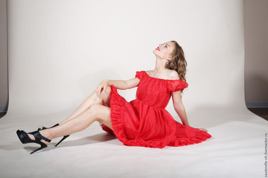 """Платья ручной работы. Ярмарка Мастеров - ручная работа. Купить Платье """"Куба"""". Handmade. Ярко-красный, летнее платье, лето"""