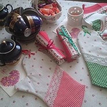 """Для дома и интерьера ручной работы. Ярмарка Мастеров - ручная работа Кухонный набор """"Весёлое чаепитие"""". Handmade."""