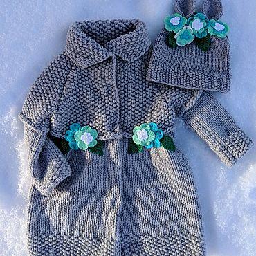 Товары для малышей ручной работы. Ярмарка Мастеров - ручная работа Пальто и шапочка с ушками, комплект. Handmade.
