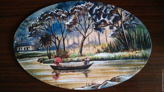 Пейзаж ручной работы. Ярмарка Мастеров - ручная работа. Купить Прогулка. Handmade. Комбинированный, ВЫЖИГАНИЕ ПО ДЕРЕВУ, панно, река