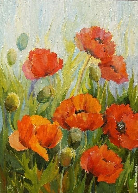 Картины цветов ручной работы. Ярмарка Мастеров - ручная работа. Купить Маки Картина холст масло 28на37см. Handmade.