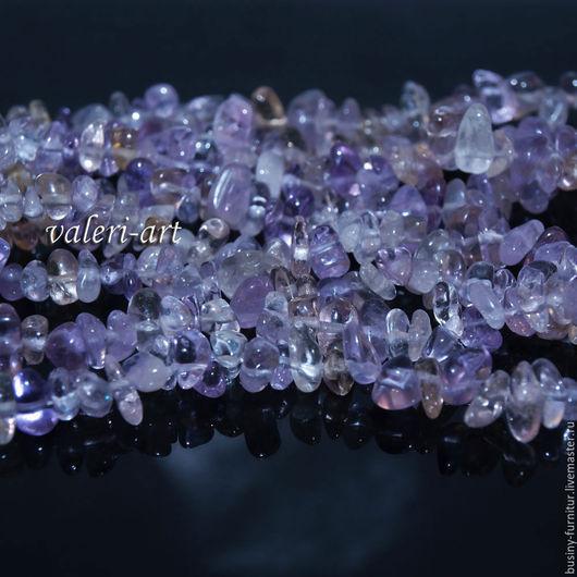 Аметрин крошка 90 см, аметрин натуральный, аметрин бусины. Украшения из драгоценного камня аметрин