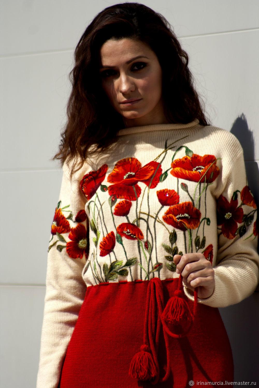 Коктейльное красное вязаное женское платье с вышивкой маки, Платья, Мурсия, Фото №1