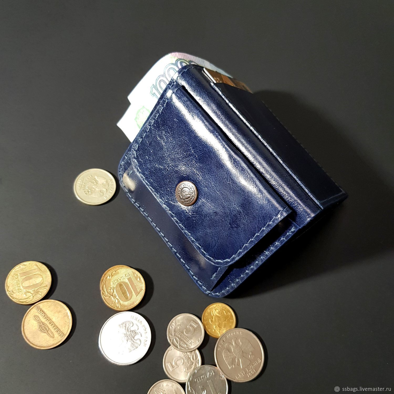 Wallet small leather. Purse pocket blue, Wallets, St. Petersburg,  Фото №1