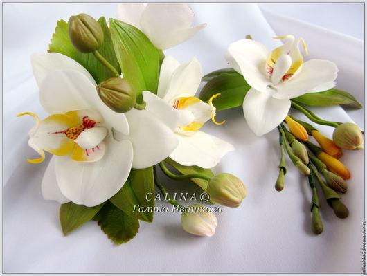 Браслеты ручной работы. Ярмарка Мастеров - ручная работа. Купить Свадебный комплект Орхидеи фаленопсисы. Холодный фарфор.. Handmade. Белый
