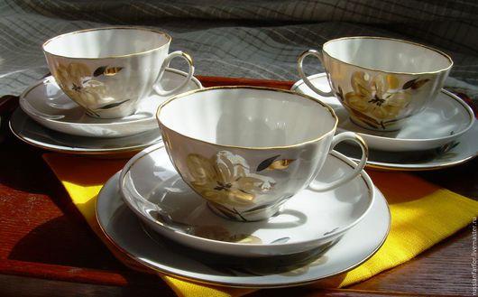 Винтажная посуда. Ярмарка Мастеров - ручная работа. Купить Чайная тройка  Дулево. Handmade. Дулевский фарфор, вещи из ссср