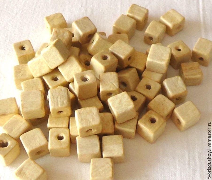 Для украшений ручной работы. Ярмарка Мастеров - ручная работа. Купить Бусины деревянные кубики. Handmade.