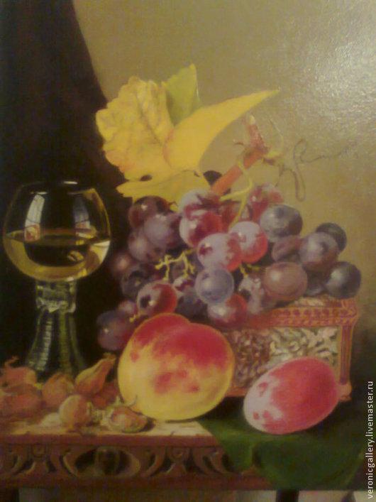 Натюрморт ручной работы. Ярмарка Мастеров - ручная работа. Купить натюрморт с виноградом,вином и шкатулкой. Handmade. Натюрморт с фруктами