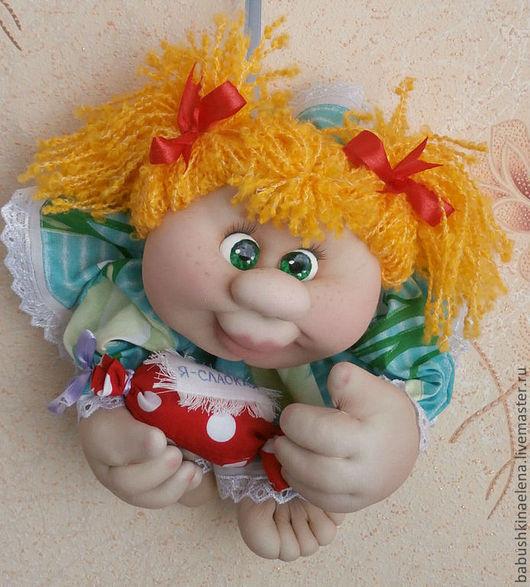 Человечки ручной работы. Ярмарка Мастеров - ручная работа. Купить Текстильная куколка-попик на удачу Солнышко. Handmade. Желтый
