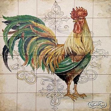 Diseño y publicidad manualidades. Livemaster - hecho a mano Painting ceramic Painting tile Apron kitchen Cock. Handmade.