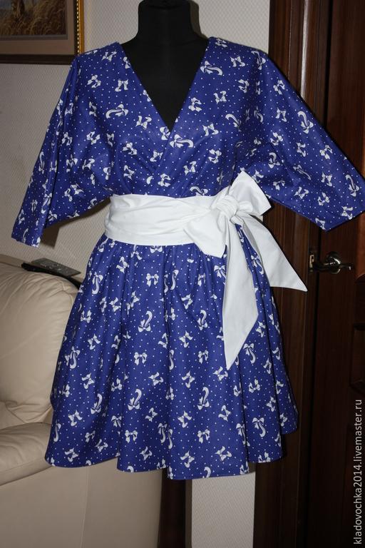 """Платья ручной работы. Ярмарка Мастеров - ручная работа. Купить Платье """"Забава"""". Handmade. Тёмно-синий, платье с коротким рукавом"""