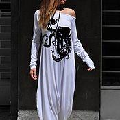 handmade. Livemaster - original item White Women`s Jumpsuit with Painting-JP0350TR. Handmade.