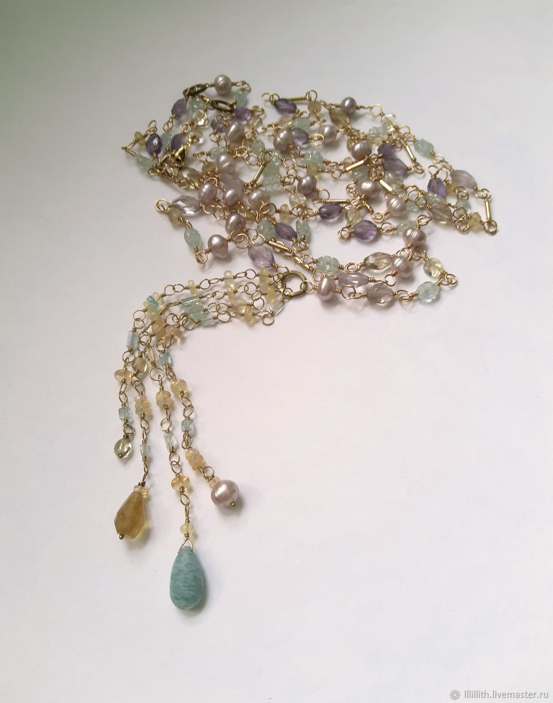 Sautoir with ametrine, aquamarine and pearls, Lariats, Moscow,  Фото №1