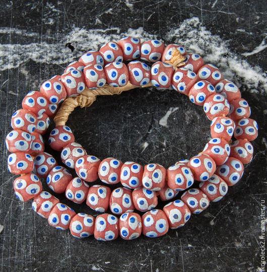 Для украшений ручной работы. Ярмарка Мастеров - ручная работа. Купить Оранжевые с глазками стеклянные бусины 10 мм, Африка. Handmade.