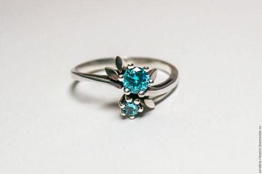 Кольца ручной работы. Ярмарка Мастеров - ручная работа. Купить серебряное кольцо Голубые цветы (серебро 925). Handmade. Голубой
