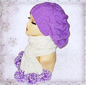 """Аксессуары ручной работы. Ярмарка Мастеров - ручная работа """"Виолет"""" Комплект из объёмного берета и шарфа с помпонами. Handmade."""