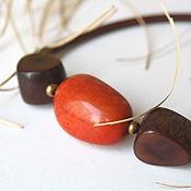Украшения ручной работы. Ярмарка Мастеров - ручная работа Колье Оранж с шоколадом(орехи Тагуа ). Handmade.