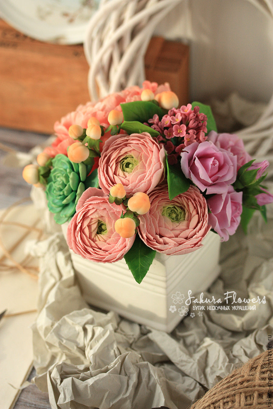 Interior composition bouquet roses buttercups peonies succulents artificial handmade flowers bouquet shabby with buttercups roses succulents izmirmasajfo