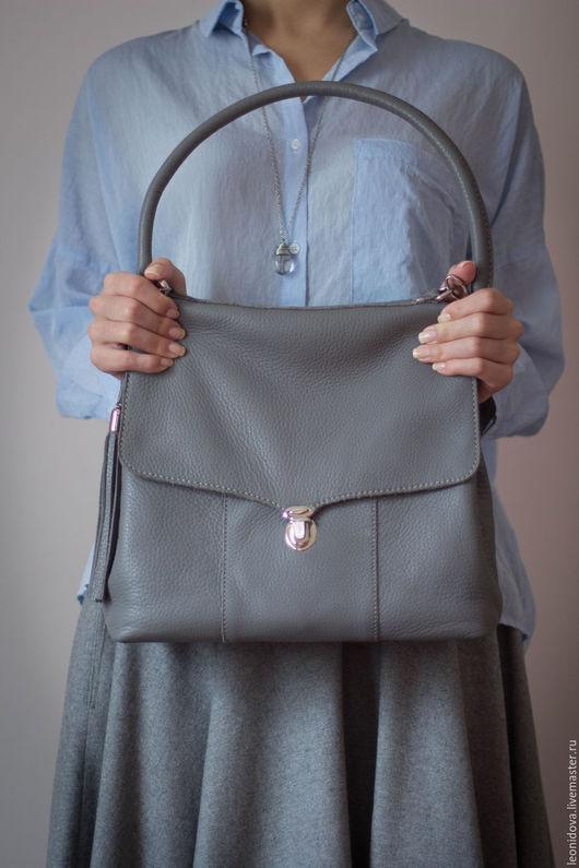 Женские сумки ручной работы. Ярмарка Мастеров - ручная работа. Купить Сумка из серой кожи. Handmade. Серый, сумка с кисточкой