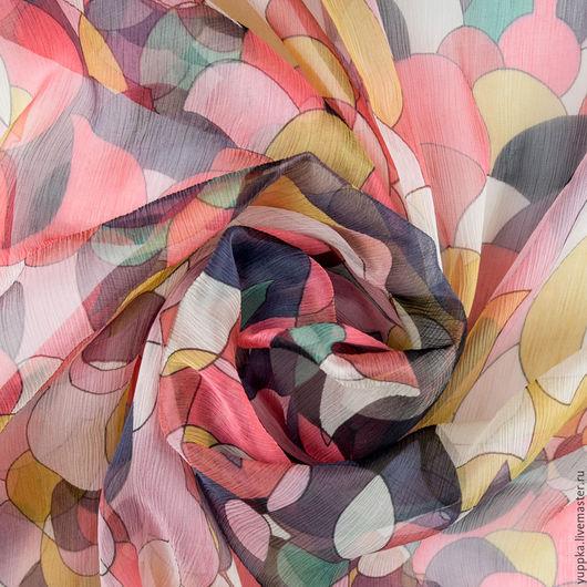 """Шитье ручной работы. Ярмарка Мастеров - ручная работа. Купить Итальянская ткань, шелк 100%, """"Закатные облака"""". Handmade. Комбинированный"""