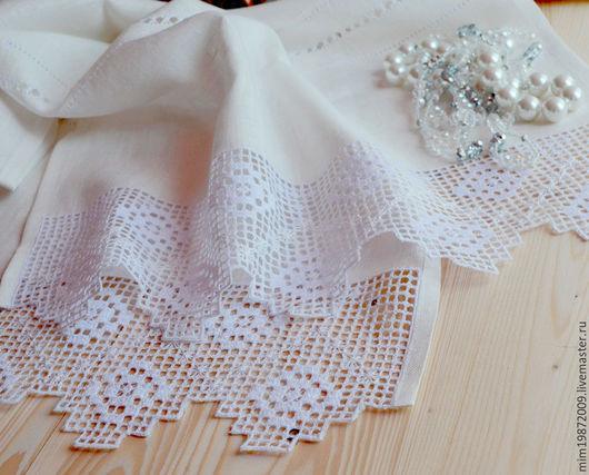 белый льняной рушник с вышивкой для венчания, для свадьбы,  украшение для дома, вышивка белым по белому, строчевая вышивка,  русский стиль, Русские традиции, Пасха