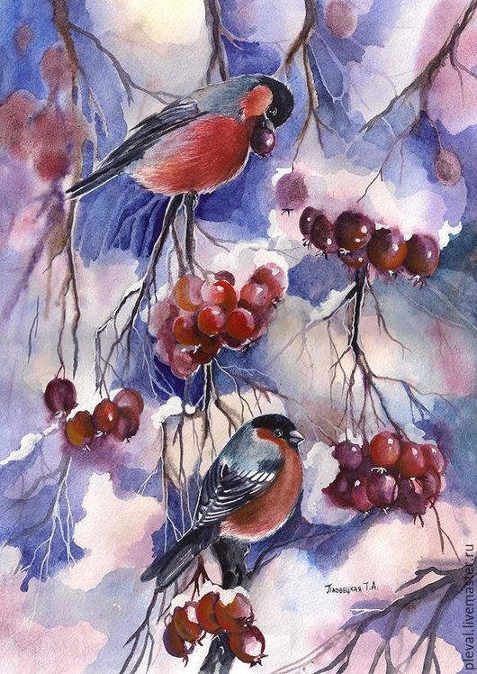Животные ручной работы. Ярмарка Мастеров - ручная работа. Купить Картина акварелью с птицами - Снегири на ягодах боярышника зима. Handmade.