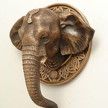 Для дома и интерьера ручной работы. Ярмарка Мастеров - ручная работа Дверная ручка Слон (бронзовая дверная ручка слон, коричневый). Handmade.