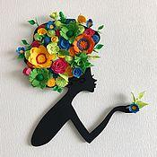 """Картины и панно ручной работы. Ярмарка Мастеров - ручная работа Панно """"Девушка"""" (дерево, фетр). Handmade."""