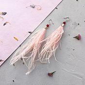 Украшения ручной работы. Ярмарка Мастеров - ручная работа Серьги с розовыми перьями и агатом. Handmade.