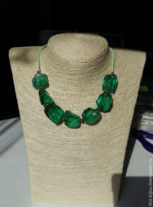 """Колье, бусы ручной работы. Ярмарка Мастеров - ручная работа. Купить Ожерелье """"Мохито"""". Handmade. Тёмно-зелёный, бисер японский"""