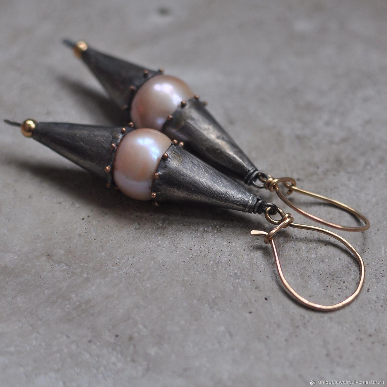 Pearl earrings, silver, gold, Goldfield, Earrings, Moscow,  Фото №1