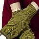 Варежки, митенки, перчатки ручной работы. Митенки с листочками. Ольга (deni-tejedora). Интернет-магазин Ярмарка Мастеров. Однотонный