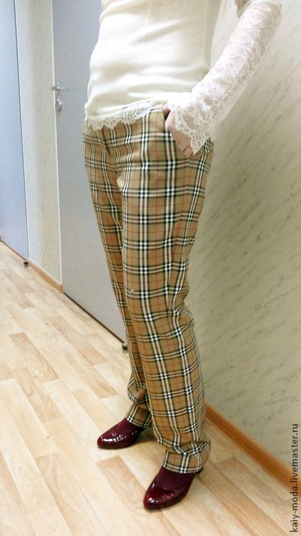 Брюки, шорты ручной работы. Ярмарка Мастеров - ручная работа. Купить Новинка - брюки классической формы - в клетку бежевые. Handmade.